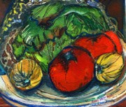 Salad Mixed Media Prints - Veggies Fresco Print by Mindy Newman