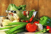 Lifestyle Framed Prints - Veggies on the counter Framed Print by Sandra Cunningham