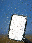 Wet Window Framed Prints - Vehicle Side Mirror Framed Print by David Buffington
