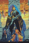 Art Quilt Tapestries - Textiles - Veiled Woman with Spirit Child by Roberta Baker