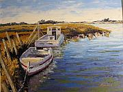 Pallet Knife Art - Veldrift Boats by Yvonne Ankerman