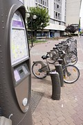 Bicycle Photos - Velib Bike Rental In Paris by Mark Williamson