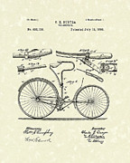 Patent Drawings Prints - Velocipede 1890 Patent Art Print by Prior Art Design