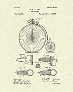 Antique Drawing Posters - Velocipede Latta 1888 Patent Art Poster by Prior Art Design