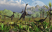 Survival Digital Art Prints - Velociraptor Dinosaurs Attack Print by Mark Stevenson