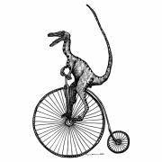 Bicycle Drawings Posters - VELOciraptor Poster by Karl Addison