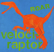 Dinosaur Painting Prints - Velociraptor Print by Laurie Breen
