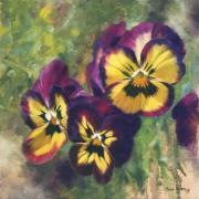 Purple Pansy Prints - Velvet Clowns I Print by Anna Bain