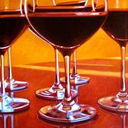 Wine Glasses Paintings - Velvet Lush by Penelope Moore