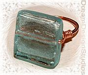 Music Jewelry - Venetian Blue Glass and Copper  Wrap Ring by Donna  Phitides