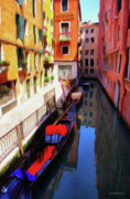 Cityscape Digital Art Metal Prints - Venetian Canal Metal Print by Jeff Kolker