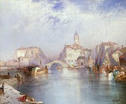 Bay Bridge Painting Metal Prints - Venetian Canal Metal Print by Thomas Moran