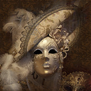Fashion Face Digital Art Posters - Venetian Face Mask F Poster by Heiko Koehrer-Wagner