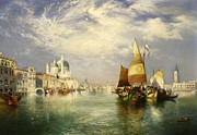 Sailboat Ocean Framed Prints - Venetian Grand Canal Framed Print by Thomas Moran