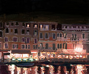 Night Cafe Framed Prints - Venetian Lights Framed Print by Michael Jacques