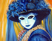 Leonardo Ruggieri Framed Prints - Venetian Mask in Blue Framed Print by Leonardo Ruggieri