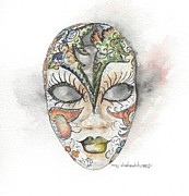 Liner Paintings - Venetian Mask IV by Mary Dunham Walters