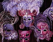 Decoration Pastels Posters - Venetian Masks Poster by Anastasiya Malakhova
