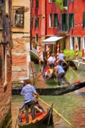 Gondola Digital Art Prints - Venetian Red Print by Jeff Kolker