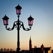 Streetlight Photo Framed Prints - Venetian Sunset Framed Print by David Bowman