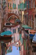Orange Painting Framed Prints - Venezia a colori Framed Print by Guido Borelli
