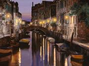 Night Lights Framed Prints - Venezia al crepuscolo Framed Print by Guido Borelli