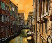 Yellow Prints - Venezia Al Tramonto Print by Guido Borelli