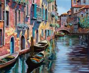 Boats Metal Prints - Venezia In Rosa Metal Print by Guido Borelli