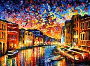 Oil Framed Prints - Venice - Grand Canal Framed Print by Leonid Afremov