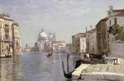Gondolier Painting Prints - Venice - View of Campo della Carita looking towards the Dome of the Salute Print by Jean Baptiste Camille Corot