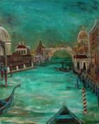 Gondola Mixed Media Framed Prints - Venice Framed Print by Amani Hanson