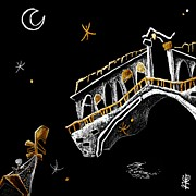 Night Tapestries - Textiles Metal Prints - Venice Art T-shirt Design Rialto Nacasona Fashion Line - Arte Disegno Maglietta Venezia Italia Metal Print by Arte Venezia