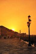 Old Greeting Cards Posters Posters - Venice at sunrise 78 Poster by Lana Sundman