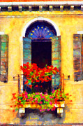 Surreal Landscape Painting Metal Prints - Venice balcony Metal Print by George Rossidis