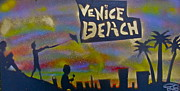 Sand Castles Painting Metal Prints - Venice Beach Life Metal Print by Tony B Conscious