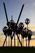 Surf Silhouette Posters - Venice Beach Sculpture Poster by Jeff Stein