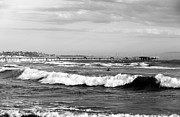 Black And White Prints Prints - Venice Beach Waves III Print by John Rizzuto