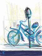 Los Angeles Mixed Media Prints - Venice Bike Print by Russell Pierce