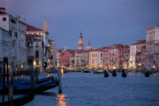Venice Waterstreet Framed Prints - Venice Blue Hour 2 Framed Print by Heiko Koehrer-Wagner