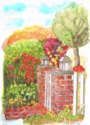 Watercolors Painting Originals - Venice-california-garden-two-pillars by Carlos G Groppa