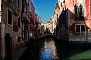 City Buildings Framed Prints - Venice Canal Framed Print by Jim Kuhlmann