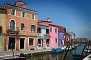 Colorful Houses Prints - Venice Canal Print by Linda Woods