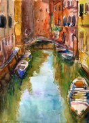 Svetlana Novikova Art Prints - Venice Canal painting Print by Svetlana Novikova