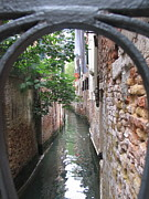 Italian Art Metal Prints - Venice Canal through gate Metal Print by ITALIAN ART-Angelica