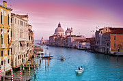 Dusk Photo Posters - Venice Canale Grande Italy Poster by Dominic Kamp Photography