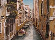 Italian Art Painting Framed Prints - Venice-Canale Veneziano Framed Print by ITALIAN ART- Angelica