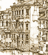 City Buildings Drawings Framed Prints - Venice canals detail 1 Framed Print by Lee-Ann Adendorff