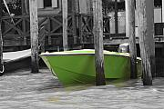 Gondola Mixed Media Framed Prints - Venice Canals Green Boat Framed Print by Greg Sharpe
