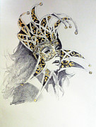 Fan Art Paintings - Venice Carnival mask by Hitomi Osanai