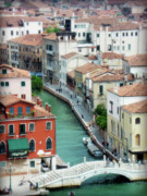 Colorful Buildings Prints - Venice City of Canals Print by Julie Palencia